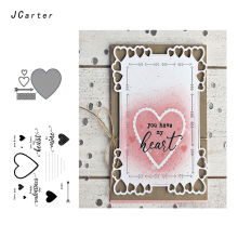 JCarter Large Heart Arrow Letters Metal Cutting Dies or Clear Stamps for Scrapbooking DIY Embossing Folder Paper Maker Template