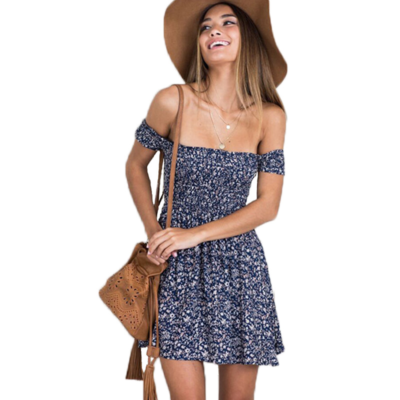 Casual Boho <font><b>Dress</b></font> <font><b>Short</b></font> Sleeve Floral <font><b>Dresses</b></font> Women Summer <font><b>Dress</b></font> 2019 Party <font><b>Red</b></font> Mini Off Shoulder Vestidos Bohemia <font><b>Sexy</b></font> Sundress image