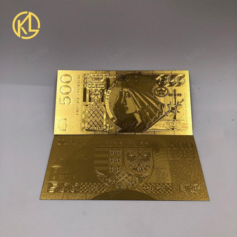 1 шт. unised 1994 Edition Poland Currency designed цветной 24 K позолоченный банкнот 500 PLN для банка подарочные сувениры - Цвет: 500PLN1994