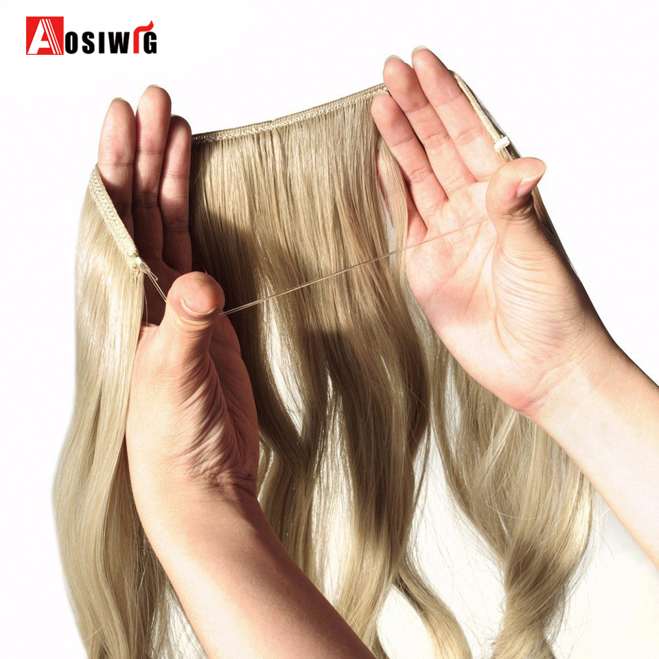 AOSIWIG Long Wavy Hair Heat Resistant Hairpiece Fish Line Straight Hair Extensions Secret Invisible Hairpieces
