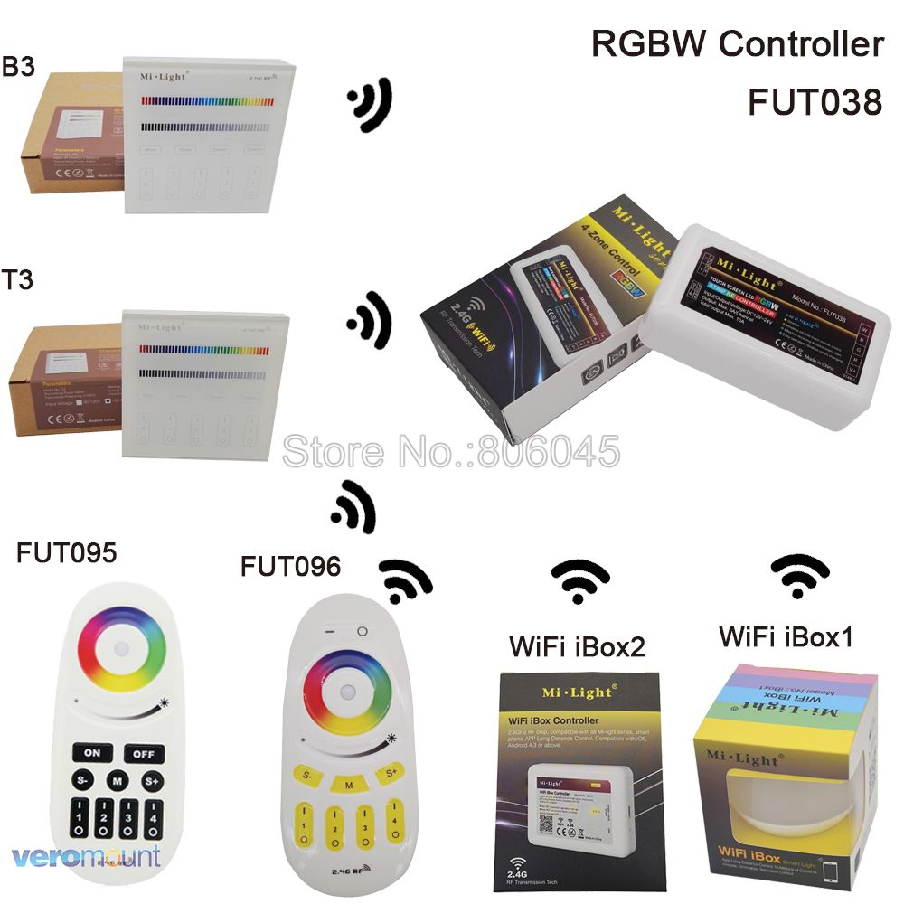 MiLight RGBW 4-Zone LED Controller DC12-24V 10A FUT038 համար RGBW LED Strip 2.4G RF անլար Android / iOs APP WiFi համատեղելի