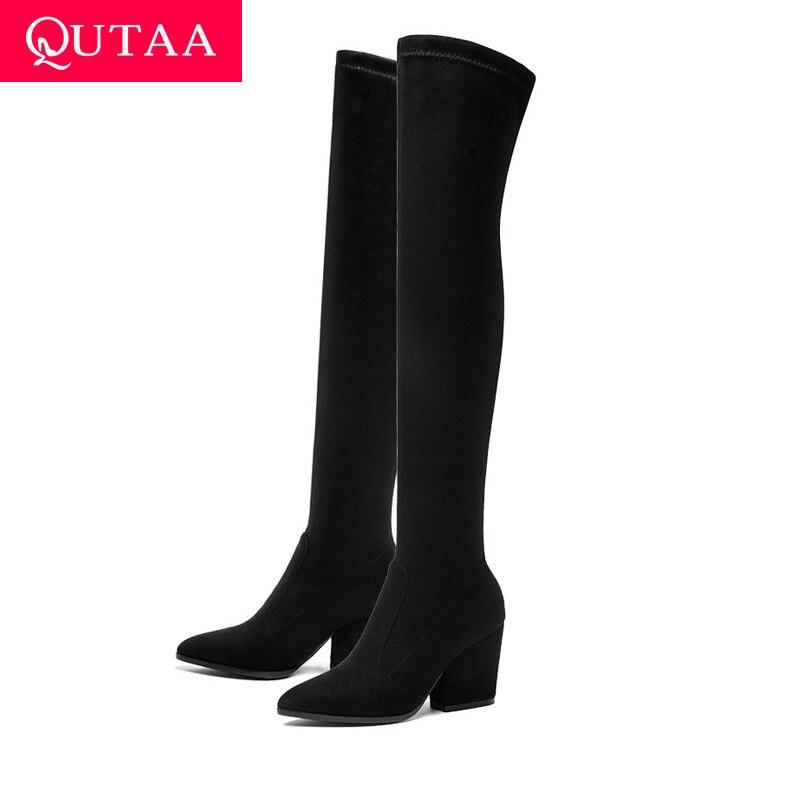 QUTAA 2019 Frauen Über Das Knie Hohe Stiefel Hoof Heels Winter Schuhe Spitz Sexy Elastische Stoff Frauen Stiefel Größe 34-43