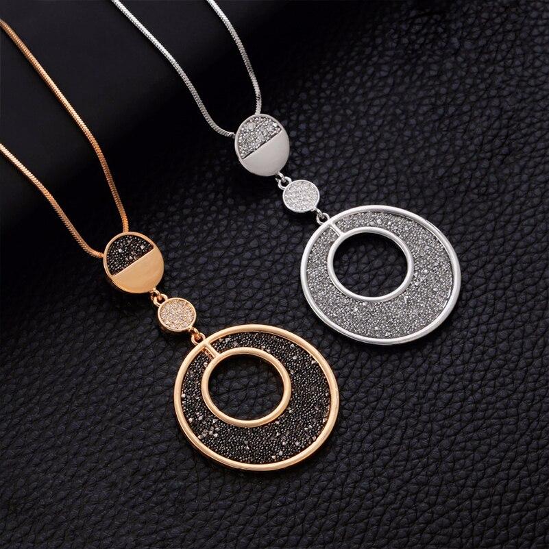 2019 Vintage Collar para mujer geométrico círculo grande negro cristal colgante collar largo serpiente cadena moda joyería Accesorios