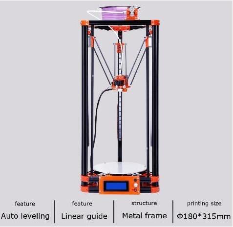 2017 LCD Diy 3d Imprimante Métal, grande Taille D'impression 3d-imprimante Delta Kossel 3d Imprimante Kit