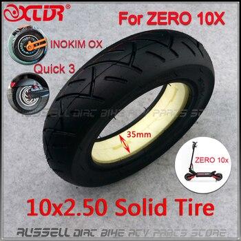10x2,50 neumático sólido sin tubo para Quick 3 ZERO 10X Inokim OX Scooter Eléctrico plegable 10 pulgadas Mini Motorrad Razor
