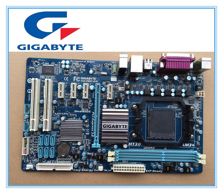 Livraison gratuite origine carte mère gigabyte GA-780T-D3L AM3 + DDR3 780T-D3L 16 GB ATX de bureau carte mère