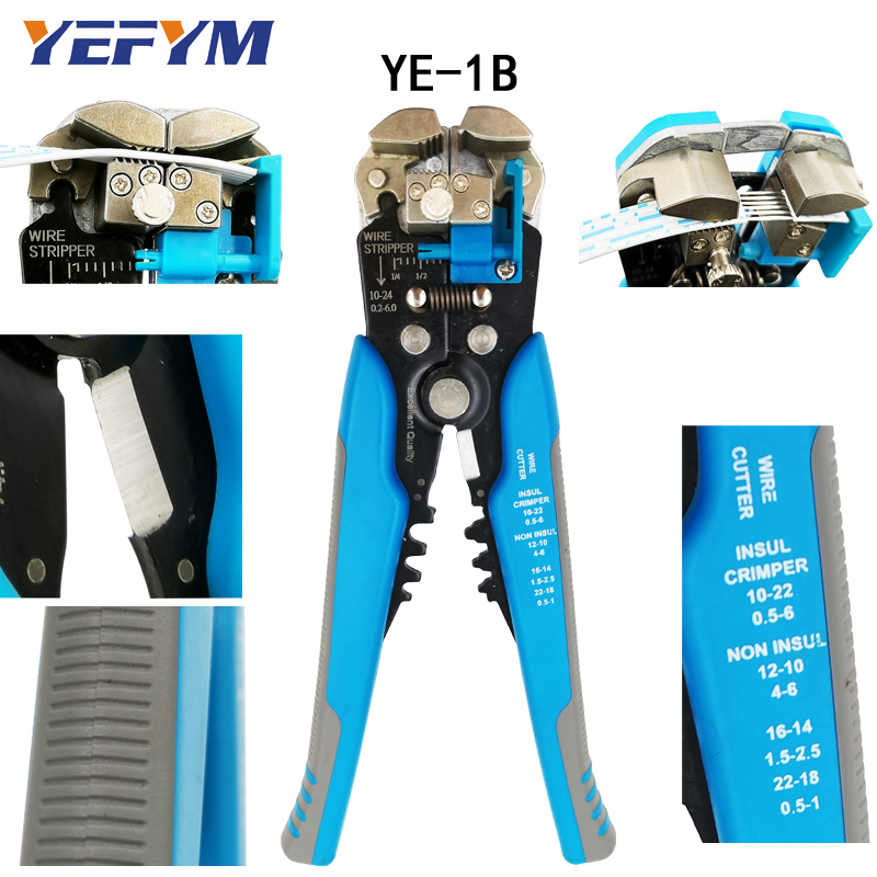 Hand Tools Radient 3 In 1 Multi Tool Automatic Adjustable Crimping Tool Cable Wire Stripper Cutter Peeling Pliers Ye-1 Blue Repair Diagnostic-tool Sophisticated Technologies