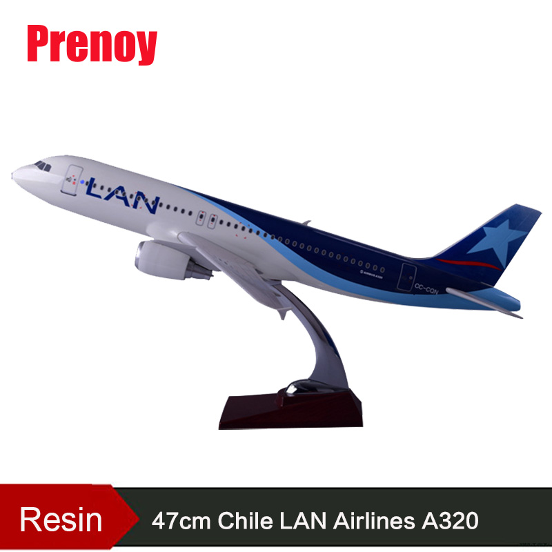 47cm A320 Resin Chile Airlines Aircraft Model LAN Airbus Airplane Model A320 Chile International Aviation Plane Model Gift Toy offer wings xx2456 special jc portugal airlines cs tjg 1 200 a321 commercial jetliners plane model hobby