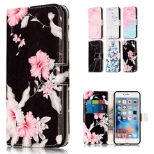 Case For Apple iPhone 6 6s NEW Fashion Marble Flower Pattern Wallet Magnetic Stand Phone Leather Flip Cover For iPhone 6