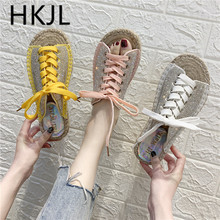 HKJL 2019 spring new Korean canvas full rhinestone tie linen weaving word drag sandals flat slippers womens shoes A708