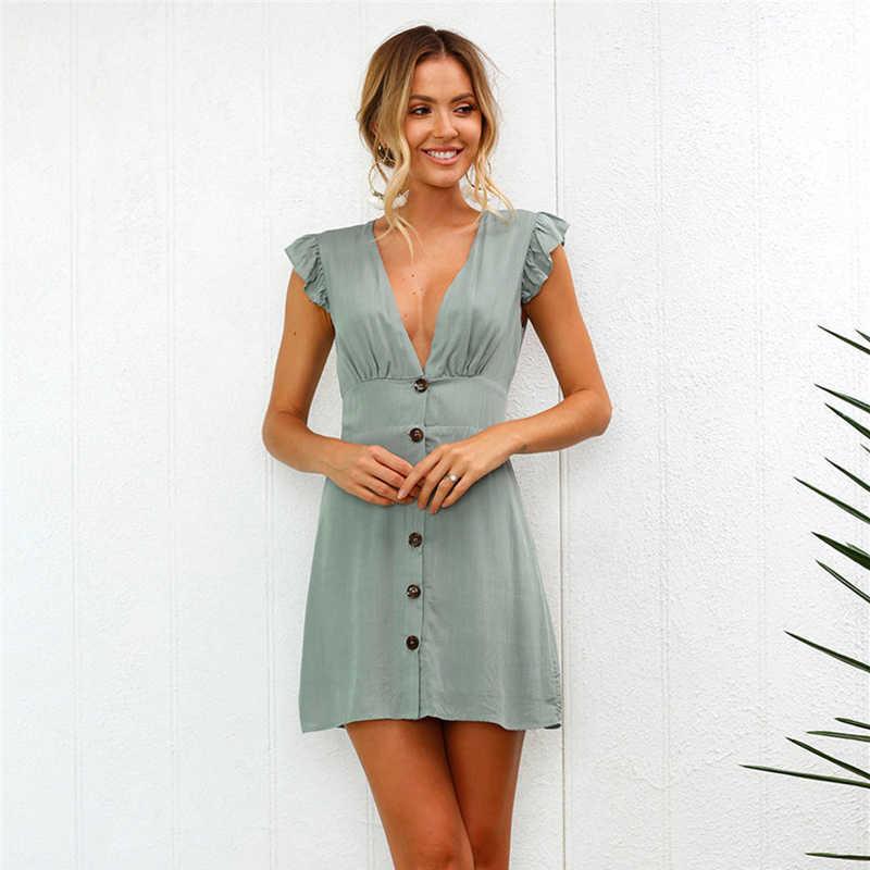 נשים אביב קיץ שמלה סקסי צווארון V שרוולים מיני שמלת אופנה מוצק צבע כפתור ראפלס דקור Slim משרד ליידי בגדים