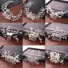 Wedding Rhinestone Pearl Hair Combs Bridal Hair Accessories Wedding Jewelry Bride Hair Combs Women Head Ornaments tocado novia(China)