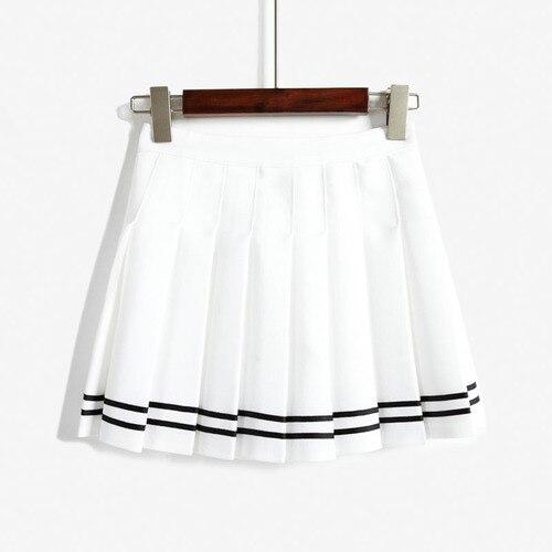 4418f8d6e9 Skirts Womens 2019 Summer Preppy Style Striped High Waist Pleated Mini  Skirt Skater Skirt Shorts Black White Navy Saias B185-in Skirts from Women's  Clothing ...
