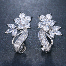 EMMAYA Fashion Red CZ Crystal Earrings Colorful Flower Stud Rose Gold Color for Women Cheap Price
