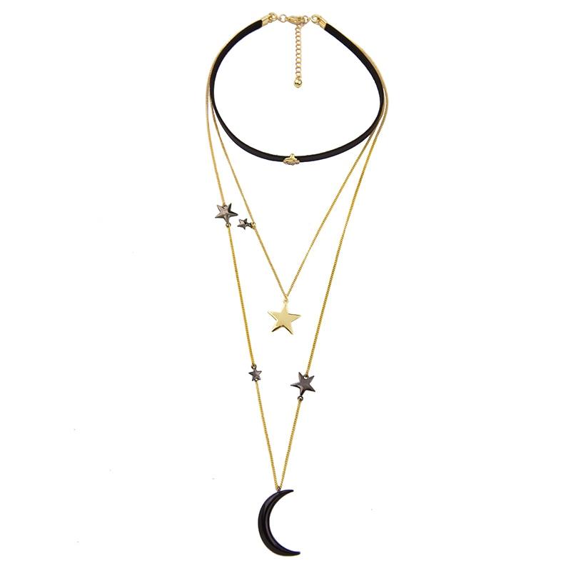 Ogrlice iz črnih žametnih čevljev za ženske Tri plasti kovinske - Modni nakit - Fotografija 4
