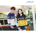Пара Указан с длинным Рукавом Вязанные Кашемировые Пуловеры, Соответствующие Олень V-образным Вырезом Свитер Пару Рождественские Свитера