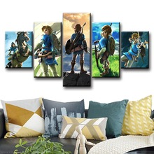 5 Piece The Legend of Zelda Breath Wild Game Poster Link Artwork Canvas Paintings Wall Art for Home Decor