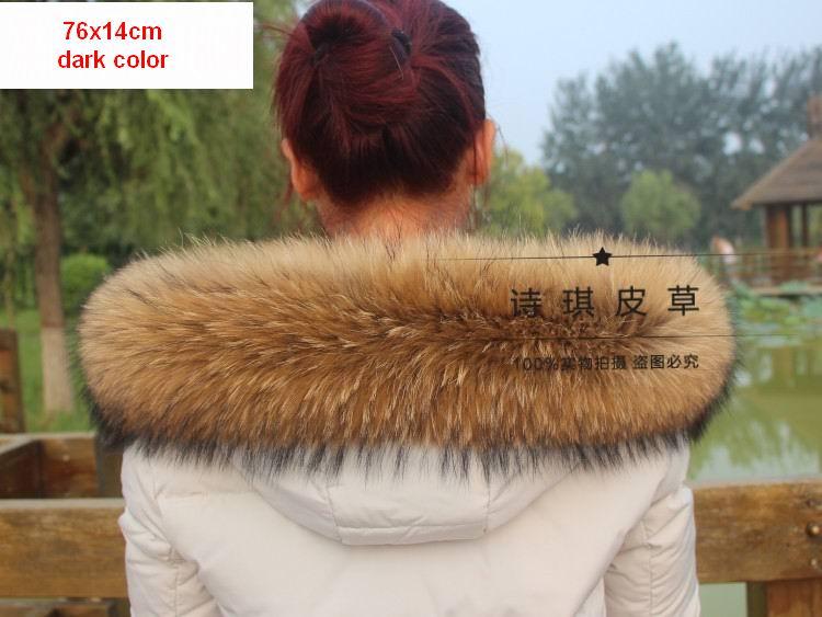 Vinter Äkta Real Natural Raccoon Fur Collar & Women Scarfs Fashion - Kläder tillbehör - Foto 6