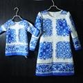 Марка семья посмотрите соответствия одежды печать форма Рукава девушки платье китайский стиль платье женщины мать и дочь платья