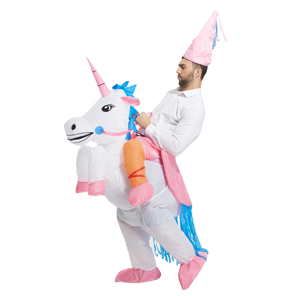HOT Adult Carnival Halloween Costumes Inflatable Unicorn Costumes Ride on Sky Horse Air Blowing Up Clothes Funny cosplay costum