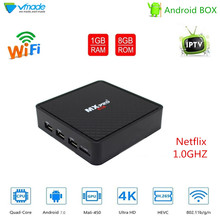 Vmade Andorid 7.0 Allwinner H3 Quad Core UHD 4K H.265 Mini TV Box 1g/8g Support WIFI Netflix IPTV Smart Media Player Set Top Box стоимость