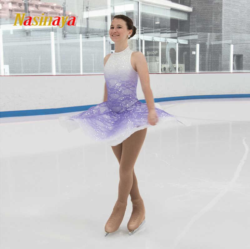 Платье для фигурного катания Nasinaya, индивидуальные юбки для конькобежцев для девочек, женщин, детей, Patinaje, гимнастика, представление 284