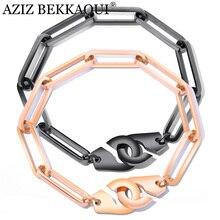 AZIZ BEKKAOUI, пара браслетов, браслет наручники для женщин/мужчин, ювелирные изделия, браслет из нержавеющей стали, подарок для влюбленных, Прямая поставка