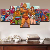 Modern Wall Art Printed Pictures Frame Canvas Art Painting 5 Pieces Animation Cartoon Characters Poster Living