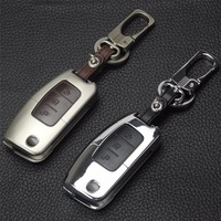 Zinc Alloy Leather Car Key Case Cover With Buckle For Ford Focus Fiesta C Max Ka