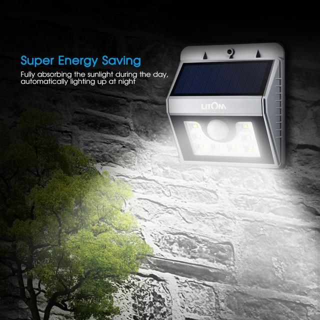 Litom 8 Led Solaire Propulse Night Light Etanche Motion Sensor Mur