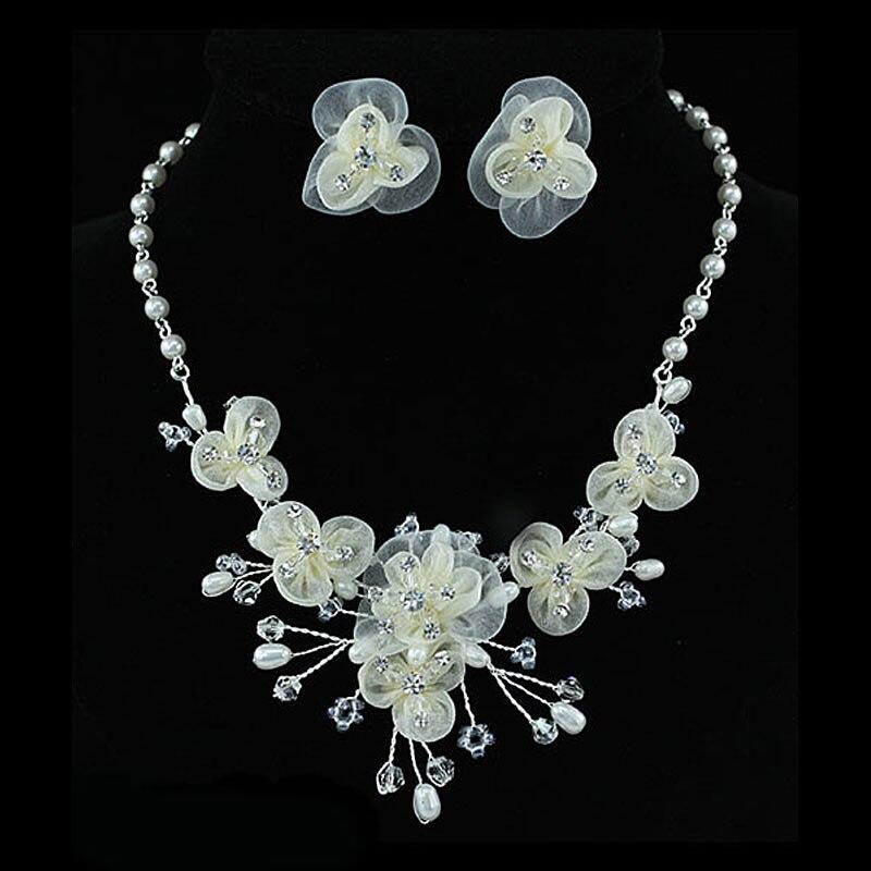 Оптовая Продажа невесты свадебные Кот Ткань имитация жемчуга Цепочки и ожерелья Серьги комплект cs1218
