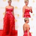 Strapless Backless Red Appliqued camadas Evening Formal vestido 2014 66º Emmy Awards Kaley Cuoco Celebrity Dresses
