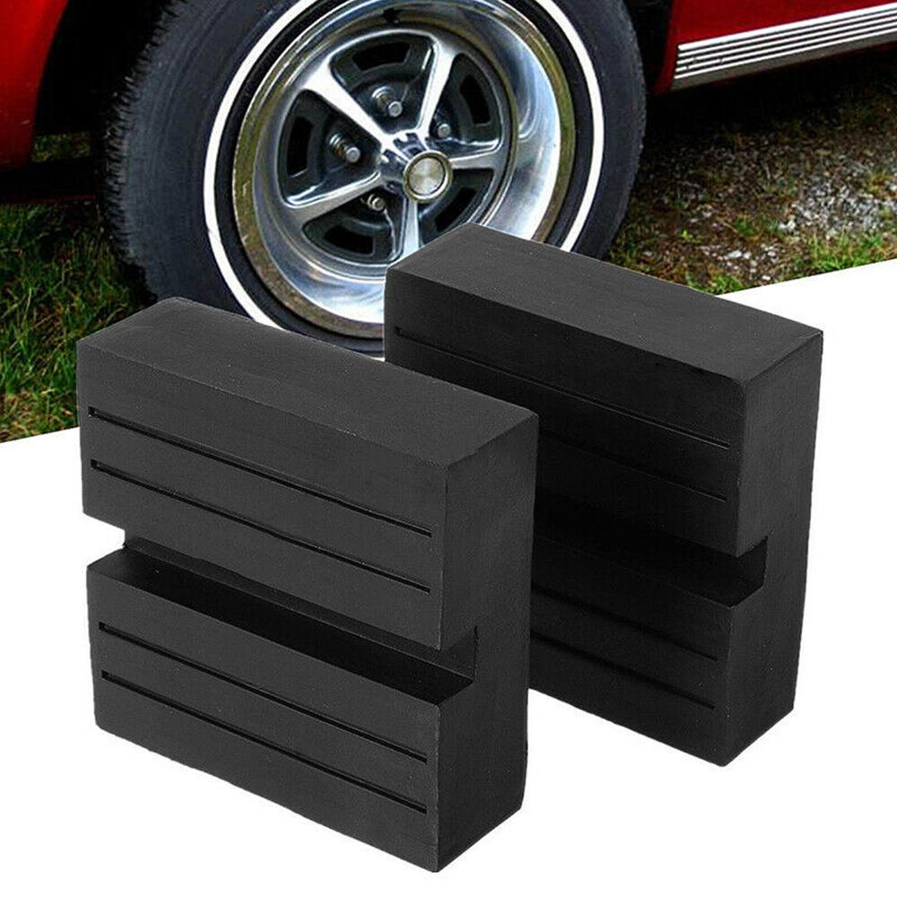 2PC Universal Car SUV Slotted Trolley Floor Jack Guard Adapter Lift Rubber Pad Jack Rubber Block Repair Tool