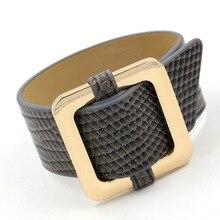 Фотография 4 Colors Stingray Leather Bracelet Femme Imitation Snake Leather Buckle Bracelet for Women