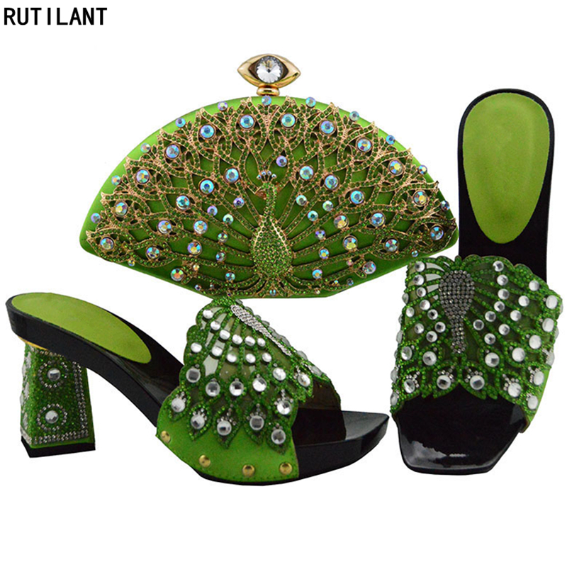 Party or Dernières Chaussures Sac Décoré Mariage teal Femmes Femme Avec Sacs Noir red Blue Conception purple Et De Pompes Set Ensemble royal Italien Africaines Appliques fuchsia grass Green qwqXazRr