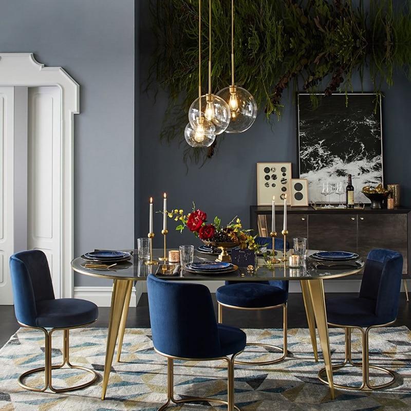 Modern Nordic glass pendant light LED E27 gradient color loft creative hanging lamp for home bedroom living room restaurant shop