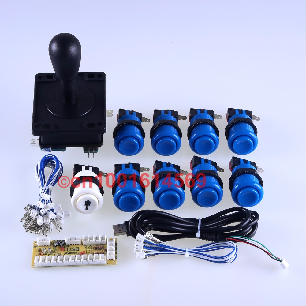 Arcade Game DIY Parts Bundles Zero Delay USB Encoder PC to Arcade Stick + 9 x Happ Button for Mini Table Top Arcade Machine Game