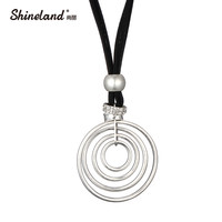 Shineland HOT Selling Handmade High Quality Silver Rose Gold Color PU Leather Round Pendant Necklace For