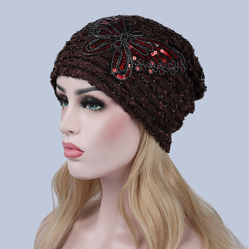 Sequin Turban Hat Women Animal Beanies For Adults Chemo Hats Skullies Beanies  Female Lace Butterfly Knitted Cap Autumn Warm Caps-in Skullies   Beanies  from ... db8a19c474bd