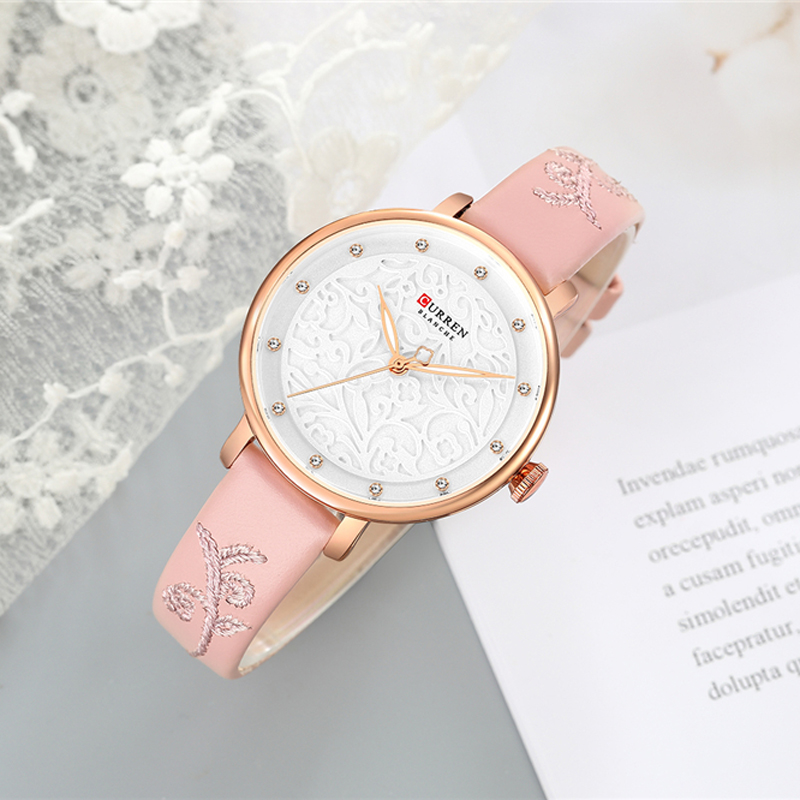 Image 3 - Top Brand CURREN Women Watches Pink Leather Wristwatch with Rhinestone Ladies Clock Fashion Luxury Quartz Watch Relogio Feminino-in Women's Watches from Watches