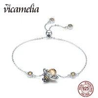 Vicamelia 925 Sterling Silver Dancing Honey Bee Chain Link Women Bracelet Crystal Gold Color Pendant Bracelets For Women 063