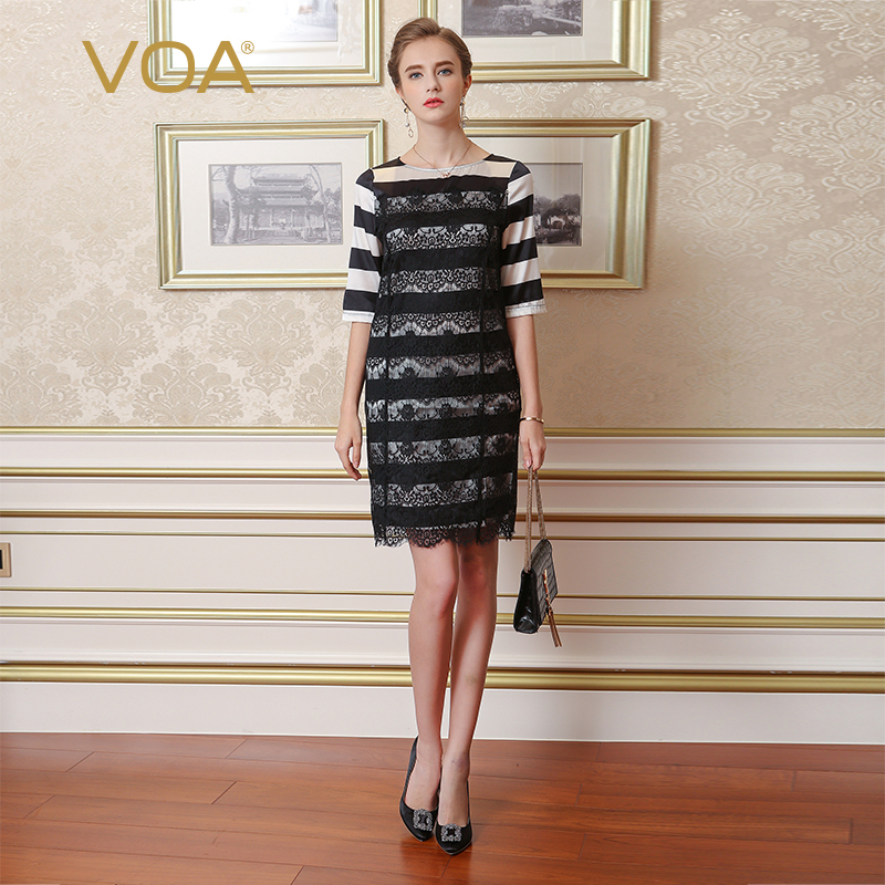 VOA Silk Lace Classic Stripe Dress A0258