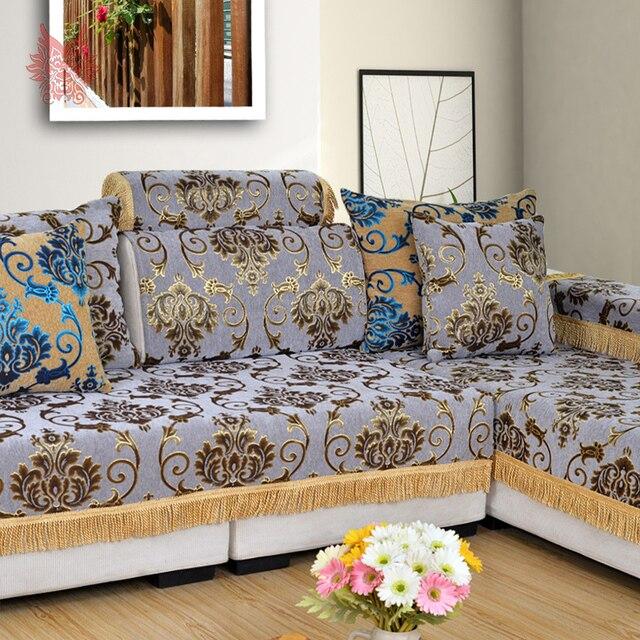 Clásico Chenille jacquard floral flecos de tela cubierta de sofá ...