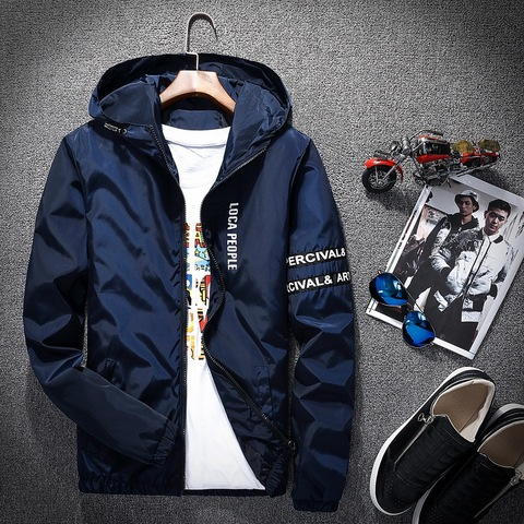 2018 Spring Autumn New Fashion Slim Fit Young Men Hooded Jacket Thin Jackets Brand Casual Windbreaker Top Quality Multan