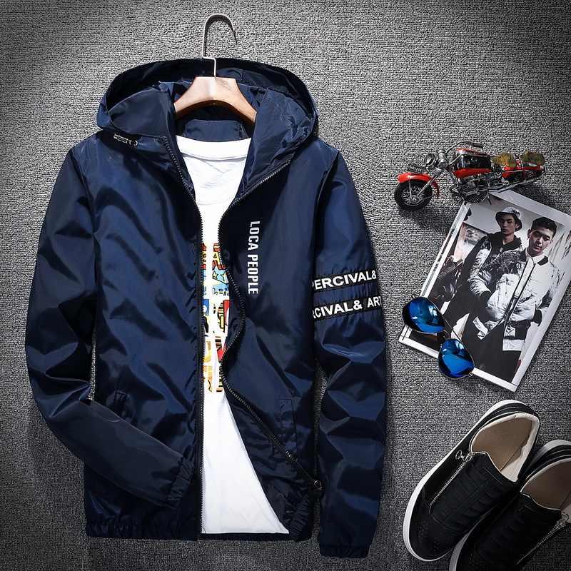 2018 봄 가을 새로운 패션 슬림 맞는 젊은 남성 후드 자켓 얇은 재킷 브랜드 캐주얼 윈드 브레이커 최고 품질