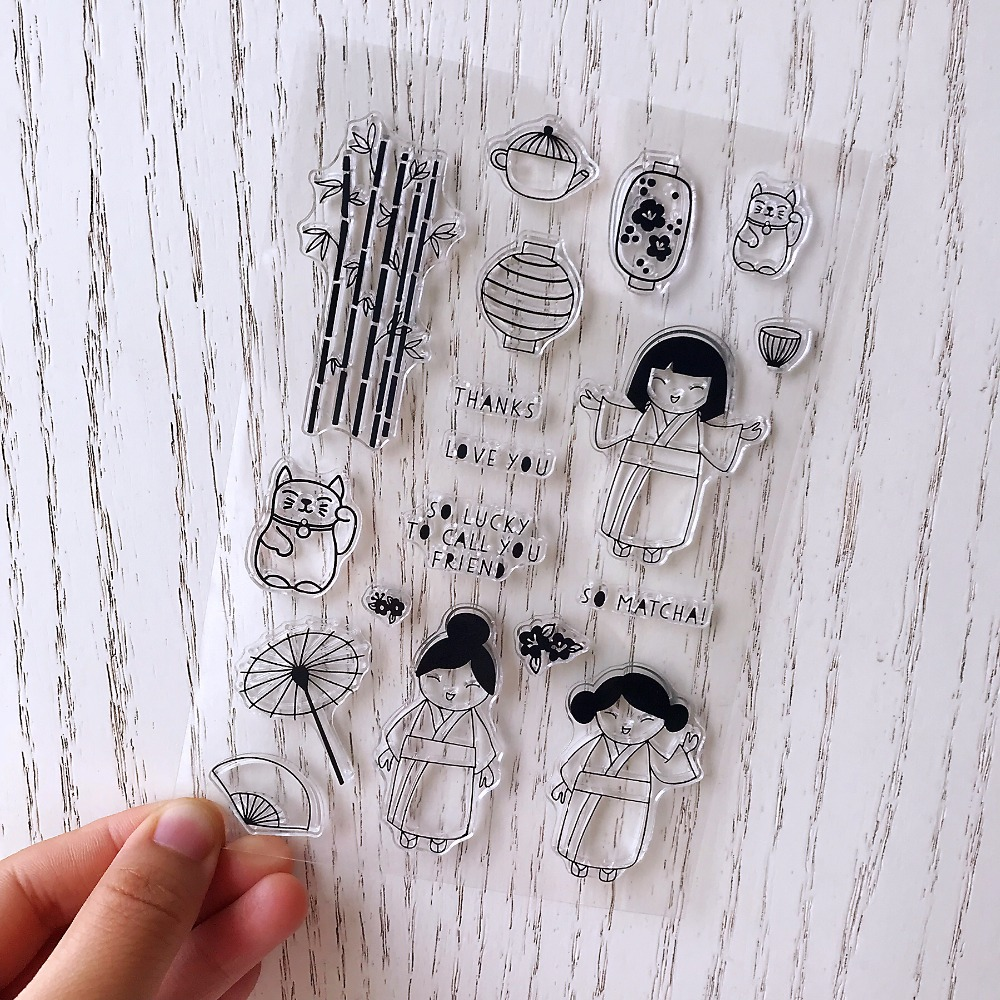 kimono/girl/Lucky Cat/Transparent Clear Silicone Stamps for DIY Scrapbooking Card Making Kids Christmas Fun Decoration Supplies