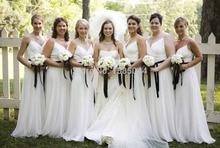 Chiffon Bridesmaid Dresses 2017 V Neck Sleeveless Spaghetti Straps Backless Floor Length Ribbon Long Bridesmaids Dresses