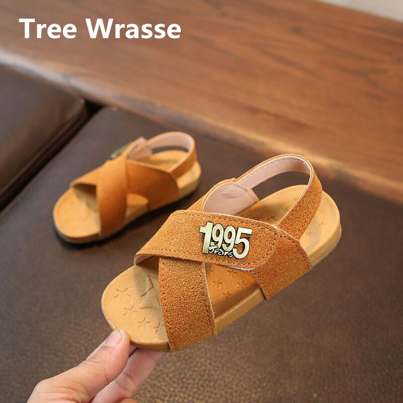 Boys Beach Sandals Summer New Children Number Leather Shoes For Girls open-toed Sandals Kids Casual Soft Baby Toddler Shoes