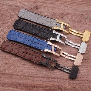Image 4 - Accessoires de montre en cuir de haute qualité 25 * mm 19mm bracelet en caoutchouc boucle papillon pour bracelet Hublot bracelet de montre pour femme pour hommes