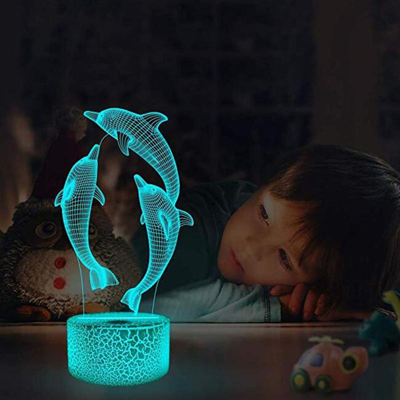 3D 7 Colors Changing Dolphin Night Light Touch Switch Table Lamp Kids Xmas Gift Bedside Home Decoration